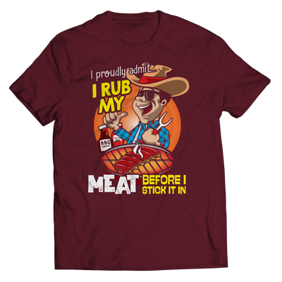 I Rub My Meat Funny BBQ T-Shirt color