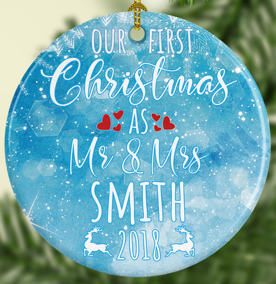 First Christmas as Mr & Mrs Ceramic Ornament Doubles Sided Personalized