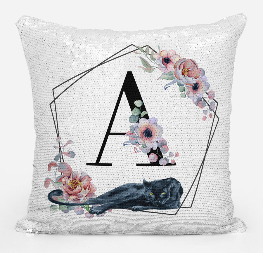 Panther Lover Gifts, Personalized Monogram Gift, Gifts for Girls or Women, Personalized Magic Flip Sequin Pillow, Mermaid Pillow Cover, Personalized Sequin Pillow, Unique Monogram Birthday Gifts