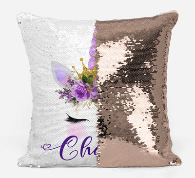 Unicorn Lover Gifts, Cute Unicorn Face Magic Sequin Pillow in Purple, Mermaid Pillow Cover, Personalized Sequin Pillow, Gifts for Girls, Birthday Gifts