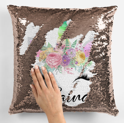 Unicorn Lover Gifts, Cute Unicorn Face Magic Sequin Pillow, Mermaid Pillow Cover, Personalized Sequin Pillow, Gifts for Girls, Birthday Gifts