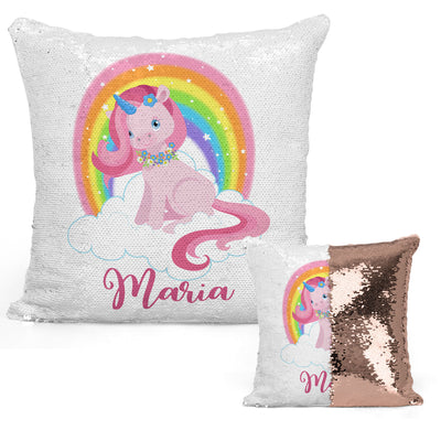 Unicorn Lover Gifts, Cute Baby Unicorn & Rainbow Magic Sequin Pillow, Mermaid Pillow Cover, Personalized Sequin Pillow, Gifts for Girls, Birthday Gifts