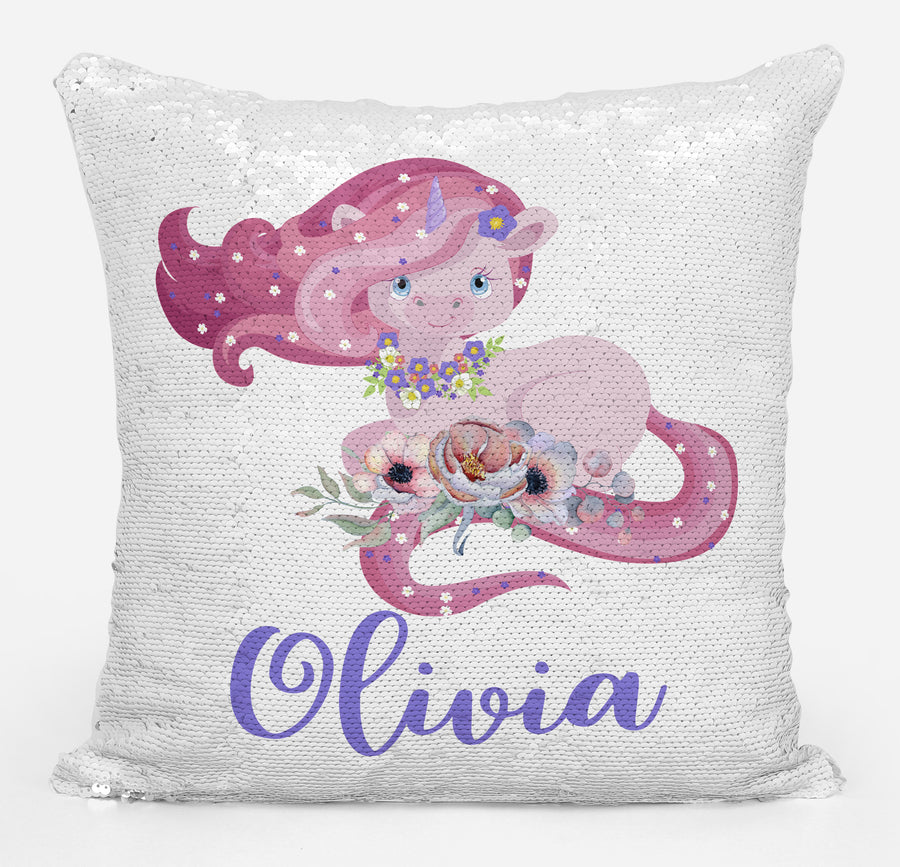 Unicorn Lover Gifts, Cute Baby Unicorn Magic Sequin Pillow, Mermaid Pillow Cover, Personalized Sequin Pillow, Gifts for Girls, Birthday Gifts