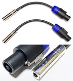 CESS-025 Speakon Speak-on to 6.35mm 1/4 TS Female Jack Speaker Cables - 2 Pack