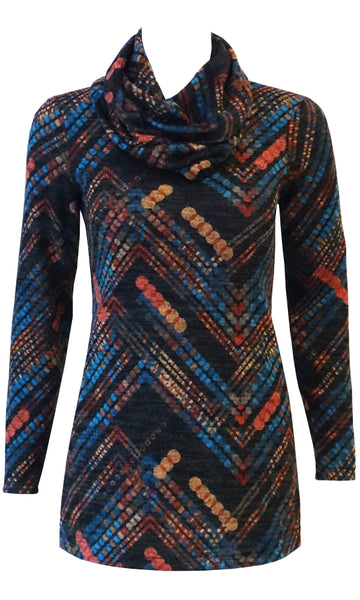 Carnival style soft knit top with pockets and infinity scarf
