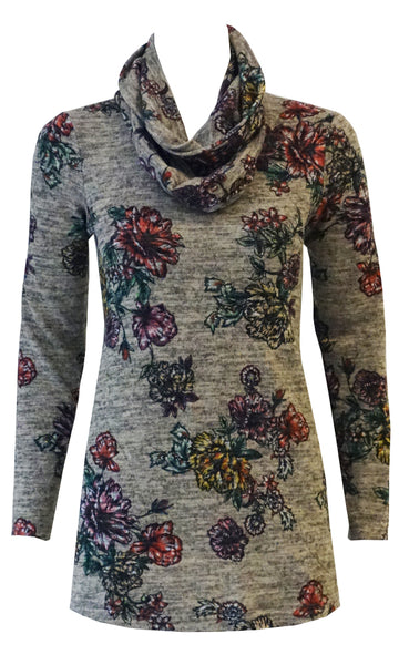Light grey and red floral soft knit top with pockets and infinity scarf
