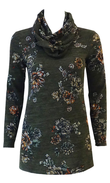 Green with floral pattern soft knit top with pockets and infinity scarf