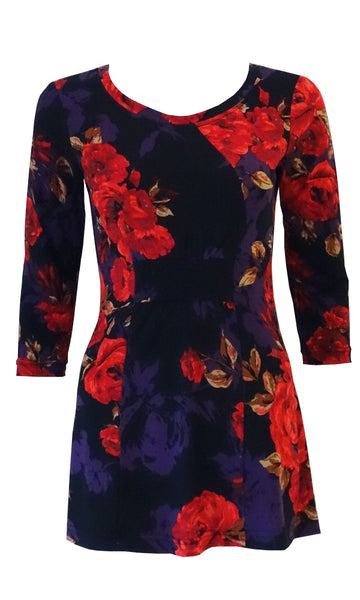 Red rose floral jersey top with front gathers