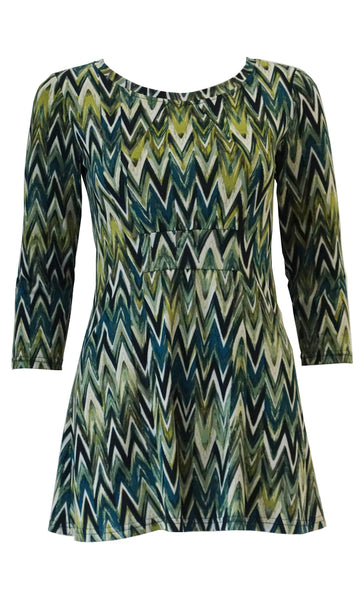 Green chevron stripe jersey tunic top with front gathers