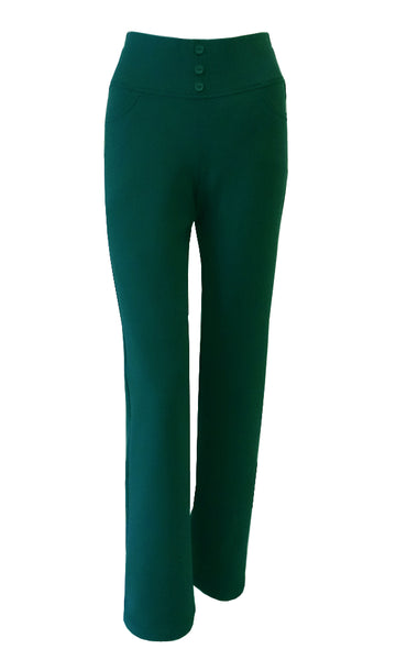Green evergreen forest crepe stretch straight leg pants with elastic waistband and pockets
