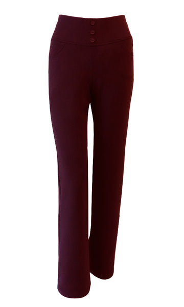 Dark red maroon double crepe stretch straight leg pants with elastic waistband and pockets