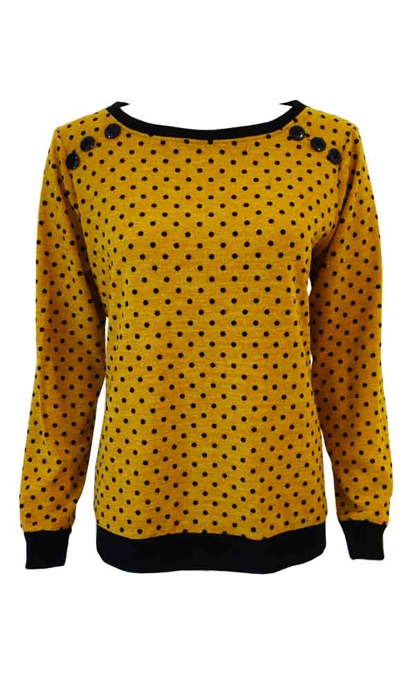 Yellow DOT sweater crew neck, long cuffed sleeves and button yoke detail