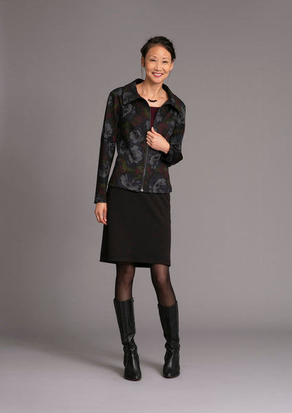 knee length straight skirt in crepe doubleknit with zip up floral blazer