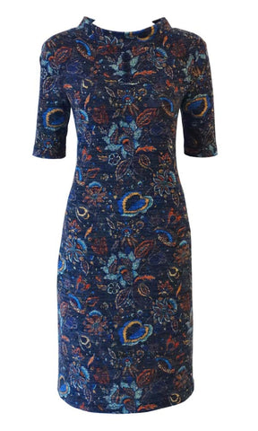Navy blue with paisley pattern high neck funnel neck sweater knit dress