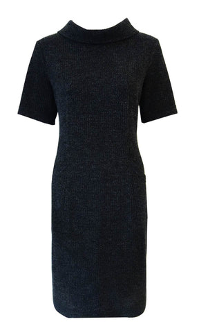 Dark grey textured 'waffle' knit dress with pockets, back button detail and high wide collar