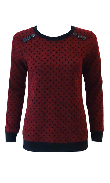 Red DOT sweater crew neck, long cuffed sleeves and button yoke detail