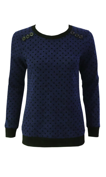 Blue DOT sweater crew neck, long cuffed sleeves and button yoke detail