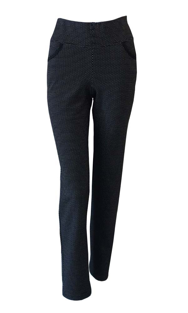 Mini black dot straight leg, comfort elastic waist band with button detail and hip pockets