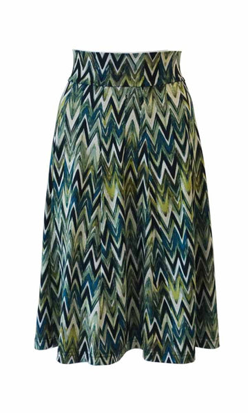 Green zig-zag pattern 10 Panel Flip skirt with stretch waistband