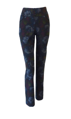 Double knit floral pattern pants with elastic waistband