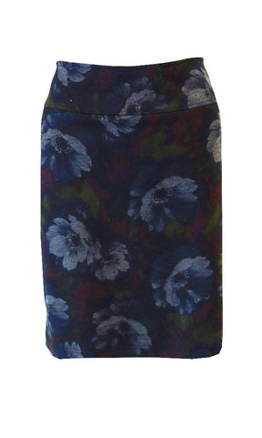 Blue red green subtle floral doubleknit print with side hip pockets, a wide elastic waist band and front button details