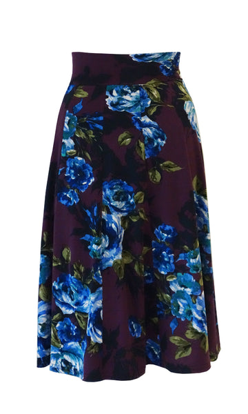 Purple and blue floral pattern 10 Panel Flip skirt with stretch waistband