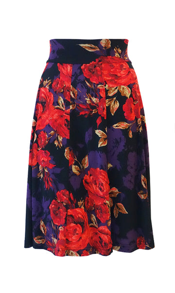 Red rose pattern 10 Panel Flip skirt with stretch waistband