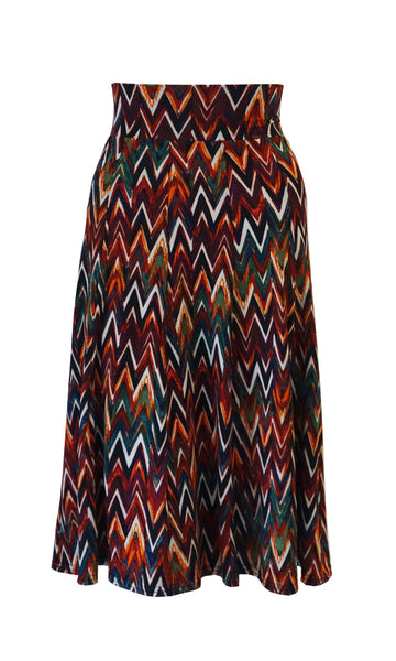 Orange rust pattern 10 Panel Flip skirt with stretch waistband