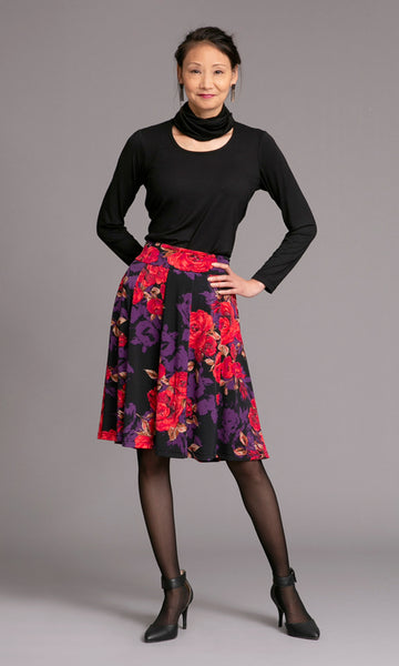 pattern 10 Panel Flip skirt with stretch waistband and t-shirt with attached infinity scarf