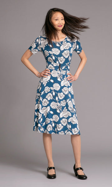 Blue and white floral jersey dress