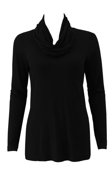 Black adjustable scarf top made from eco-friendly lyocell Made in Canada