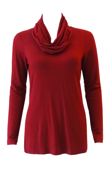 Plum red  adjustable scarf top made from eco-friendly lyocell Made in Canada