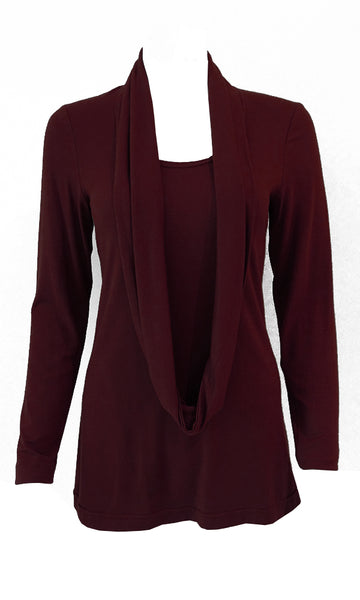 Marron red adjustable scarf top made from eco-friendly lyocell Made in Canada