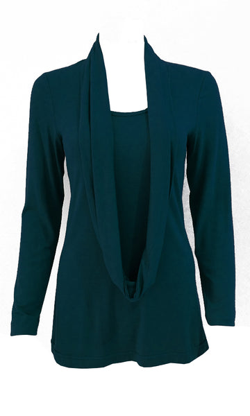 Teal  adjustable scarf top made from eco-friendly lyocell Made in Canada