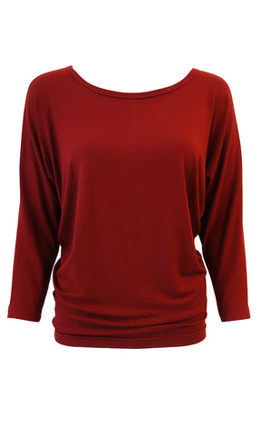 Eco-friendly plant-based lyocell jersey top with dolman sleeves Plum