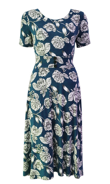 Blue and white floral dress with curved comfort fit waistband, flared skirt and 1/2 sleeves