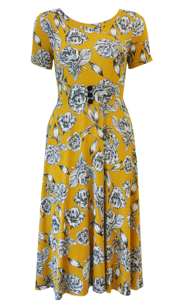 Yellow and white floral dress with curved comfort fit waistband, flared skirt and 1/2 sleeves