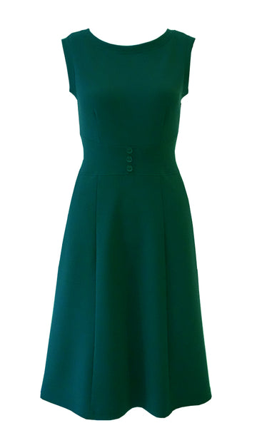 Green crepe doubleknit sleeveless stretch jumper with tree buttons