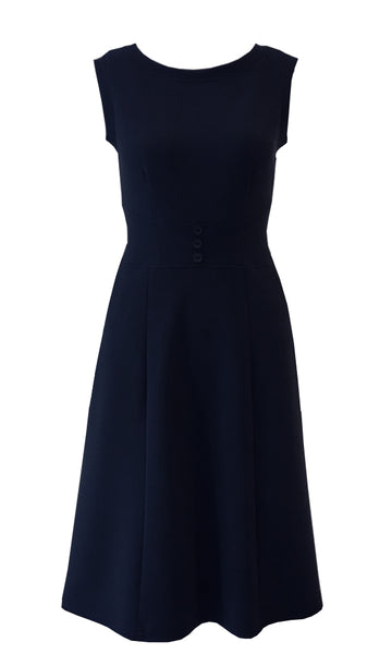 Navy blue crepe doubleknit sleeveless stretch jumper with tree buttons