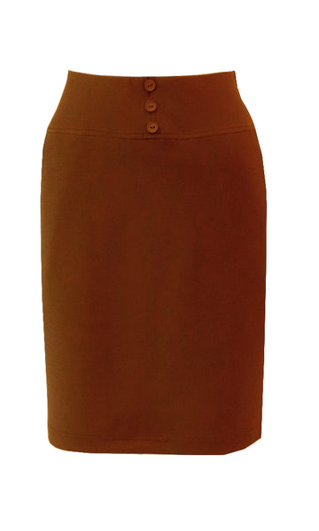 Mustard caramel knee length straight skirt in crepe doubleknit