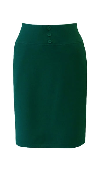 Green knee length straight skirt in crepe doubleknit