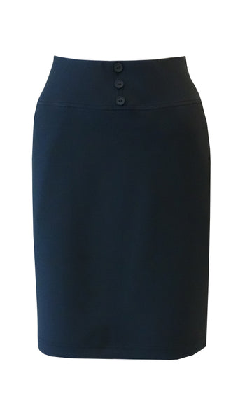 Navy blue knee length straight skirt in crepe doubleknit