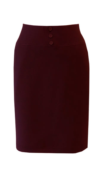 Red maroon knee length straight skirt in crepe doubleknit