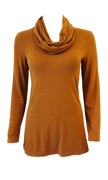 Mustard adjustable scarf top made from eco-friendly  lyocell  Made in Canada