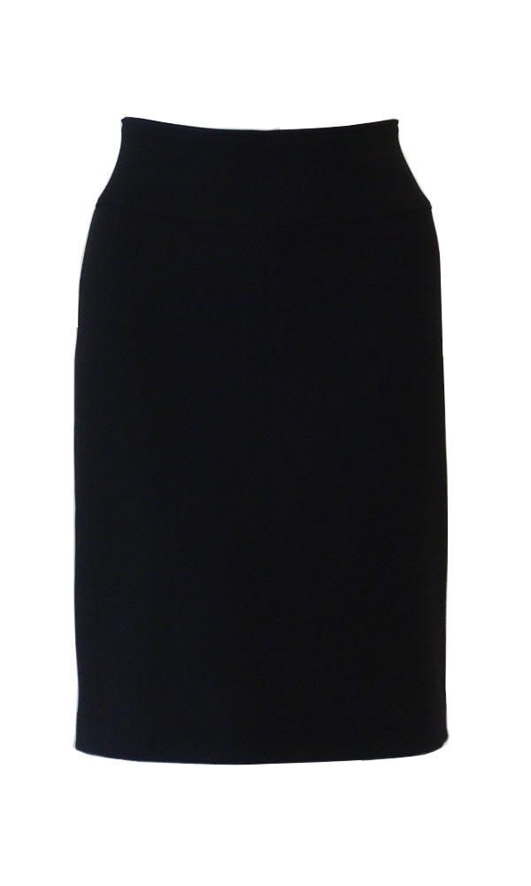 Black knee length straight skirt in crepe doubleknit