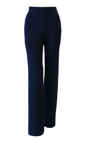 Dark blue double crepe stretch straight leg pants