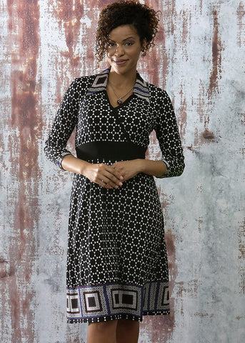 WYNETTE Border Print Faux Wrap Dress