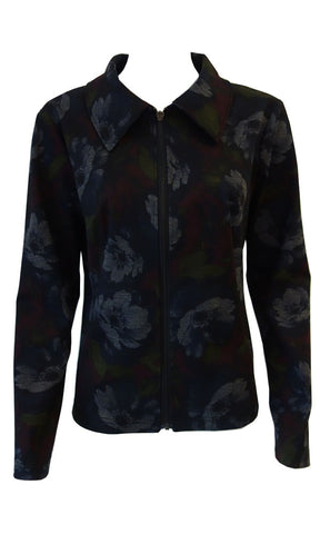 Floral print blazer with zipper made in Canada