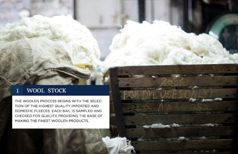 1. Wool Stock - The woolen process begins with the selection of the highest quality imported and domestic fleeces. Each bail is sampled and checked for quality, providing the base of making the finest woolen products