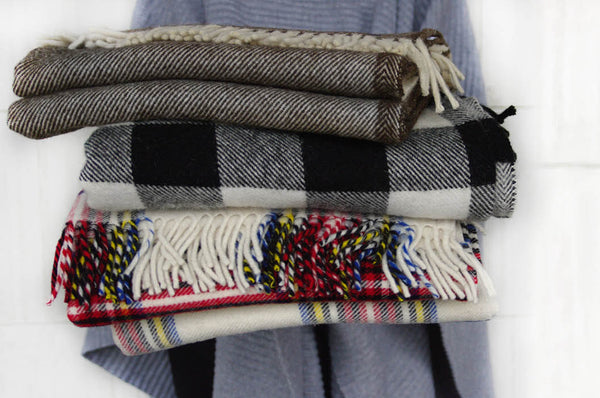 Stack of woolen throws